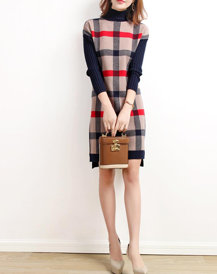 大气英伦范儿  实穿百搭   仅165元     撞色格子羊毛针织连衣裙 高领秋冬连衣裙