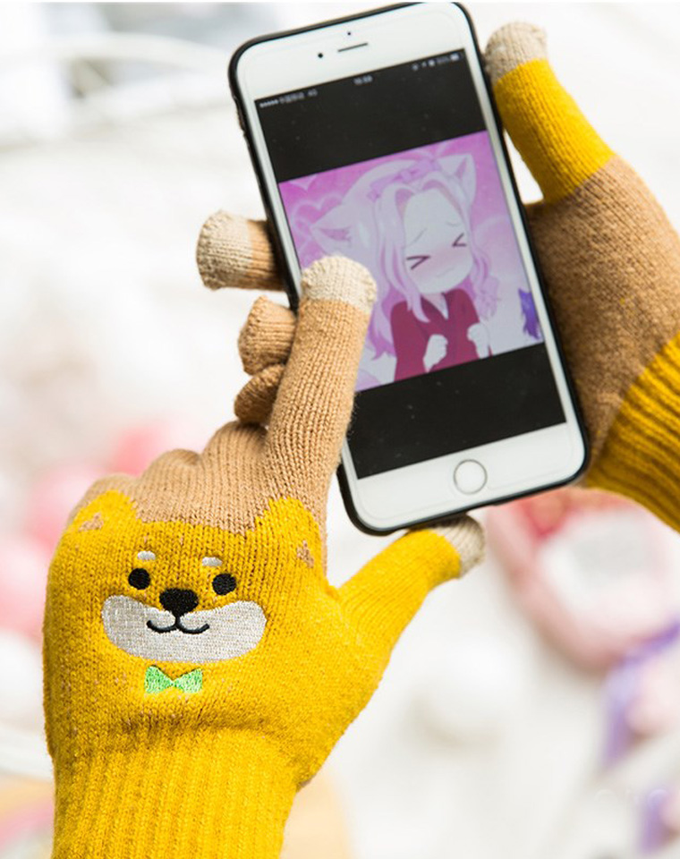 全家一人一副可触屏   日本柴犬~ 秋冬加绒触屏手套 仅29.9元   出口日本高品质