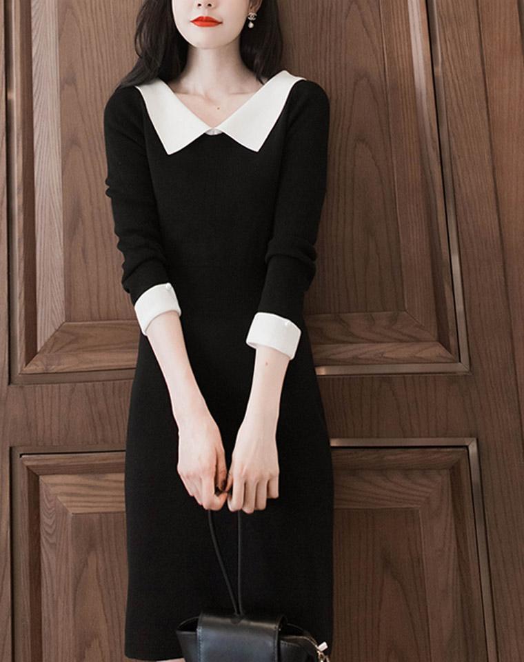 赫本式的小优雅 节后恢复原价    仅248元   大翻领修身针织连衣裙