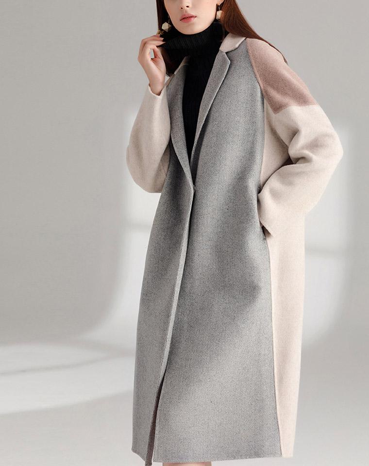 双11特供  仅628元!!!最新 拼色阿尔巴卡  双面羊绒大衣  高端格纹羊毛呢大衣