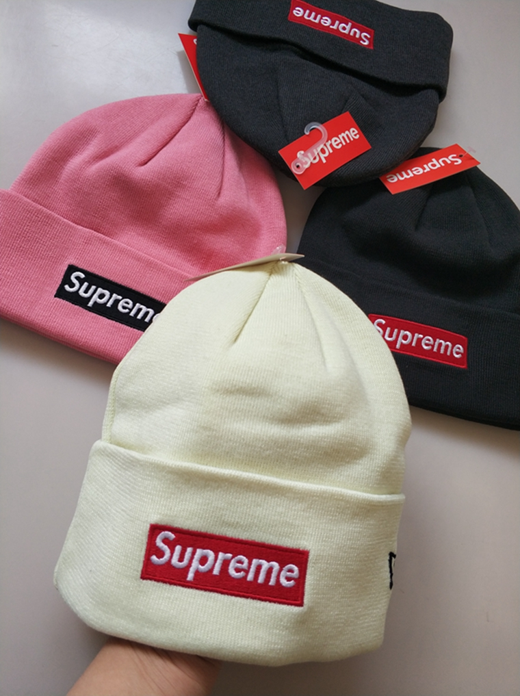 凹造型必备  男女款 仅45元  Supreme厚实翻边  男女同款百搭街头针织帽 冷帽  Supreme 16FW Box 经典刺绣Logo Beanie 联名 毛线帽