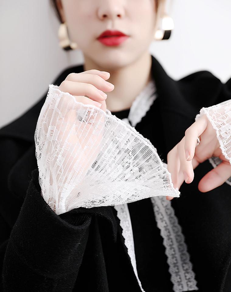 美在不经意间 仅168元  复古风优雅领巾蕾丝百褶袖 羊毛针织衫毛衣