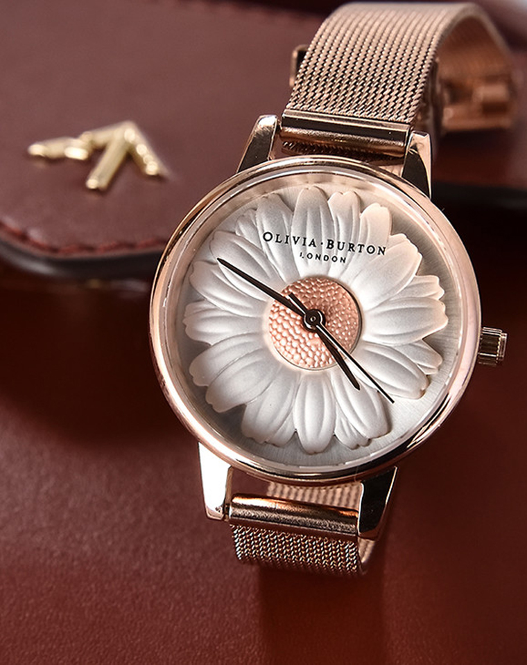 最佳馈赠  浮雕小蜜蜂 仅238元  英国Olivia Burton 小蜜蜂圆形钢带腕表