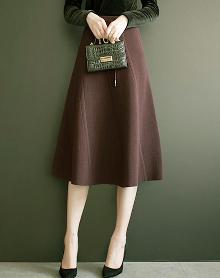实穿百搭好品质  仅125元  显瘦抽条高腰A字针织裙 秋冬厚实半裙