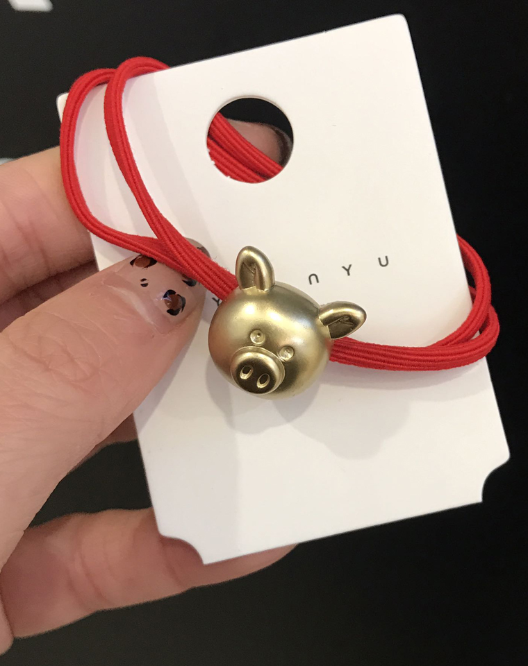 韩国nyu.nyu  9.9元3个一组    小金猪 本命年头绳    仅丸子头皮筋 扎头马尾头绳头饰发圈