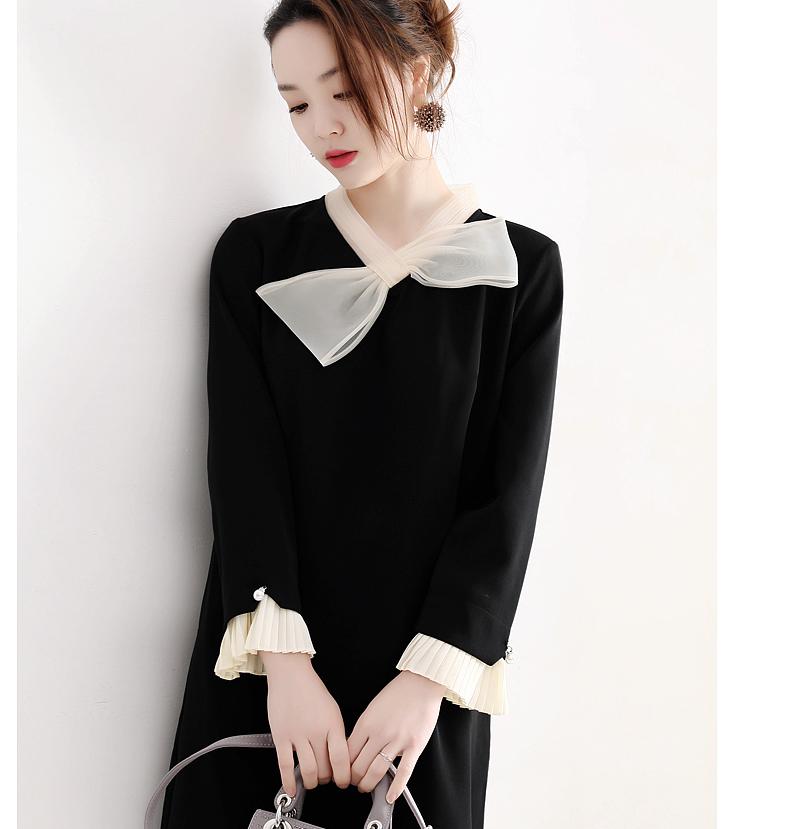 减龄感~仅175元   存在感撞色蝴蝶结装饰 风琴褶袖口黑色小A连衣裙
