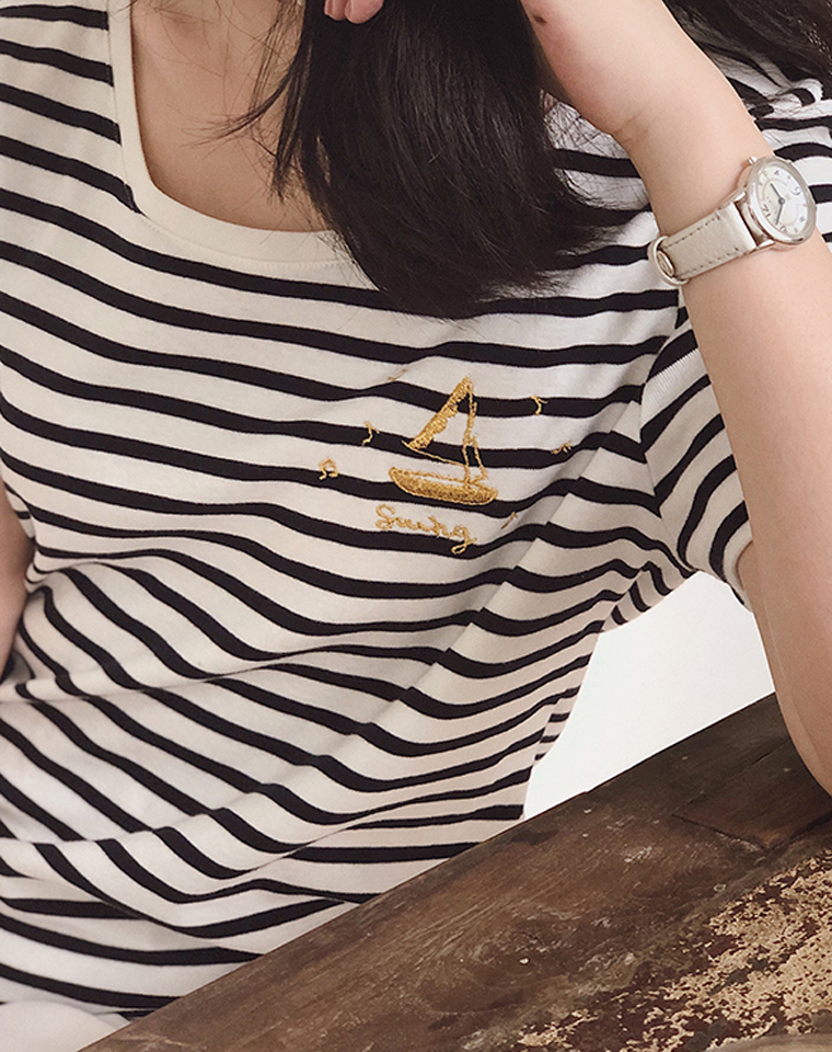 人手一件的品质海魂衫 仅108元    金线刺绣帆船 对目条纹  刺绣图案条纹纯棉短袖T恤
