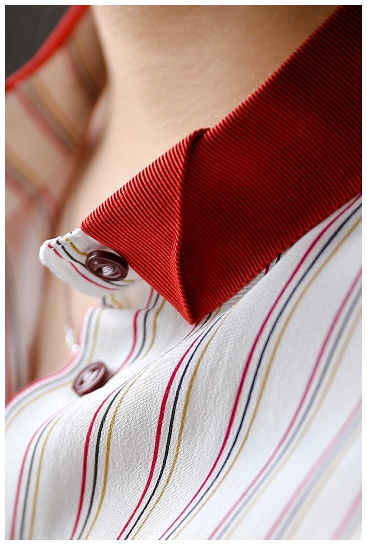 法式少女感 仅298元!!!红色条纹衬衫春心机上衣设计感小众V领真丝衬衣