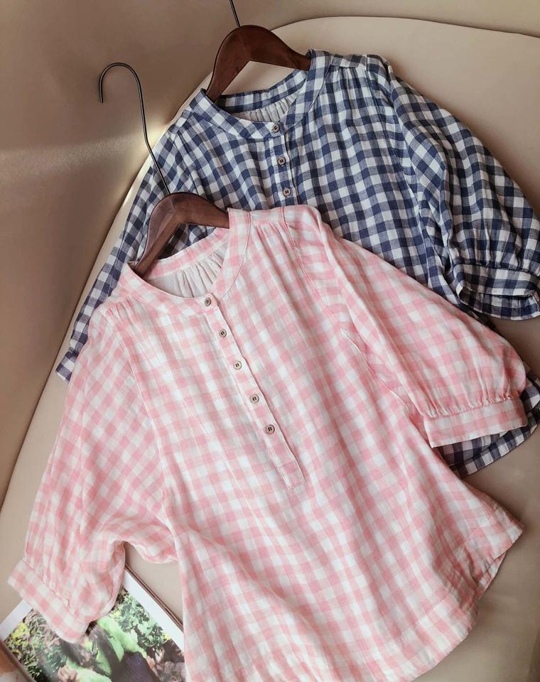 最舒适的给孩儿妈  透气双层纱   仅79元  文艺气质  日本订单  纯棉立领艺双层棉纱蝙蝠袖衬衫