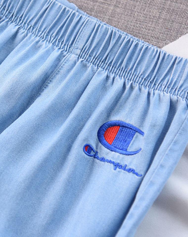 亲妈必收  仅49元  Champion纯正原单 男童女童 松紧腰  天丝牛仔裤  薄款收口长裤