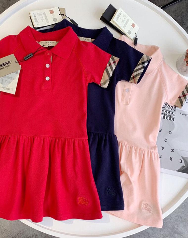 亲妈必收   仅79.9元  Burberry原单一批  POLO领学院风  女童珠地棉短袖连衣裙
