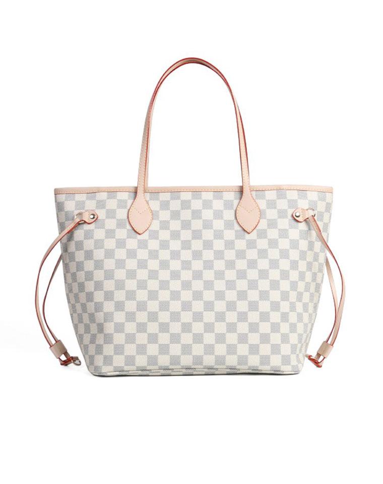 特殊渠道  仅1158元  Louis vuitton 路易威登LV  NEVERFULL 白色棋盘格购物袋 子母包 两件套