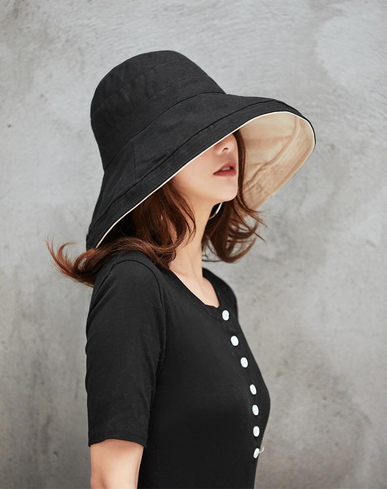无惧阳光尽情晒!!超好品质  双面可用 一顶是两顶  仅39.9元  人手BI备款! 大帽檐防晒 棉麻太阳帽 防紫外线 显脸小 凹凸造型