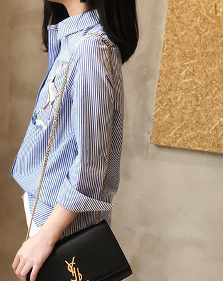 这将是你衣橱里zui美一件蓝条衬衫  仅99元  四季款 实物比图片还要好太多