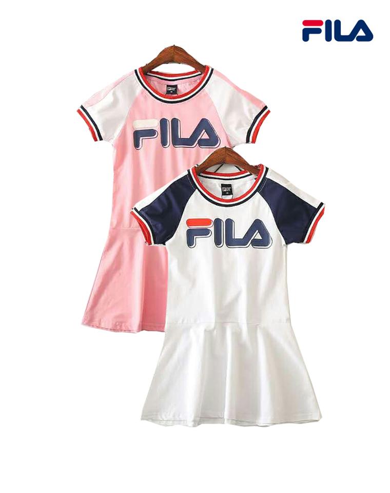 亲妈必收  亲妈必收   仅69.9元  Fila纯正原单一批 撞色超洋气女童高尔夫网球裙  短袖连衣裙