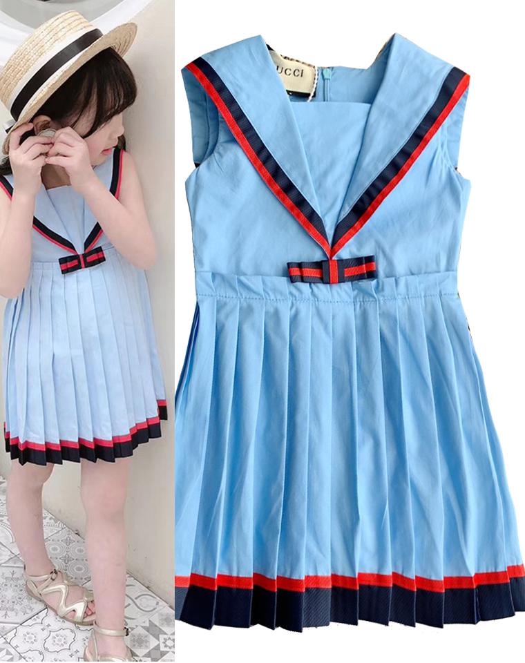 给小甜心~ 亲妈必收 仅85元  外贸订单 2019夏装超洋气 海军风冰蓝 织带无袖百褶连衣裙