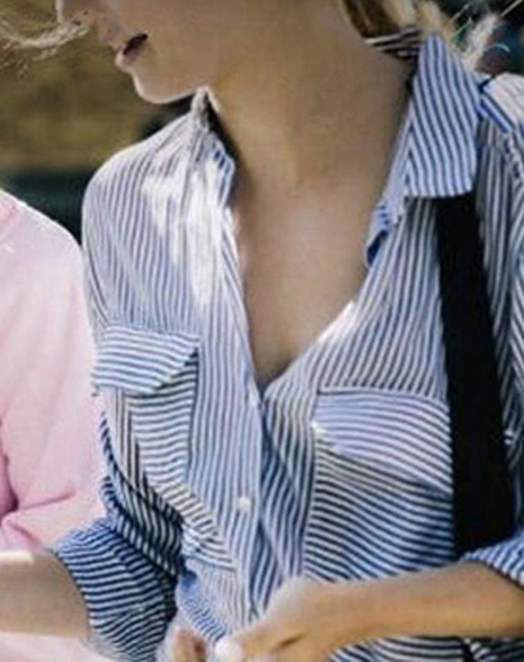孩儿妈最得体通勤   仅95元  澳大利亚cotton on纯正原单 两穿可挽袖 复古蓝色牙签细纹 落肩款  大口袋装饰 翻领宽松 衬衫 防晒衫