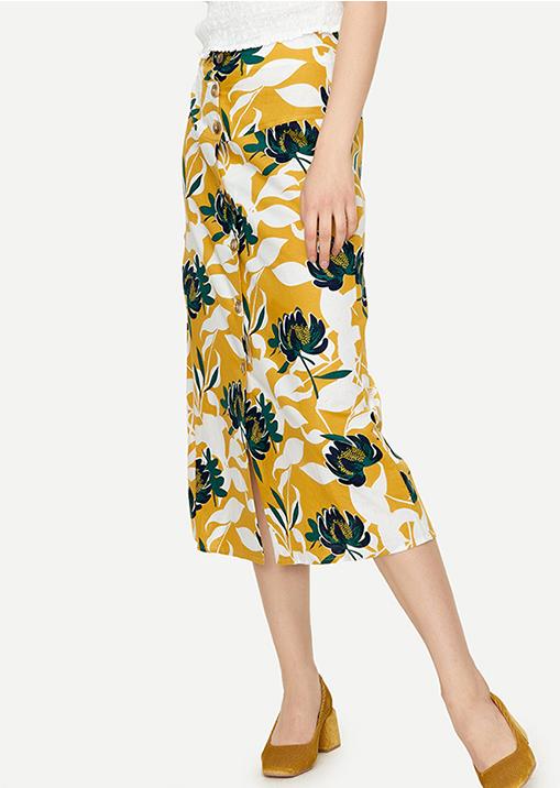 小众文艺复古高腰  仅69元 Urban Revivo纯正原单  亚麻材质 撞色黄绿印花 高腰长款半身裙