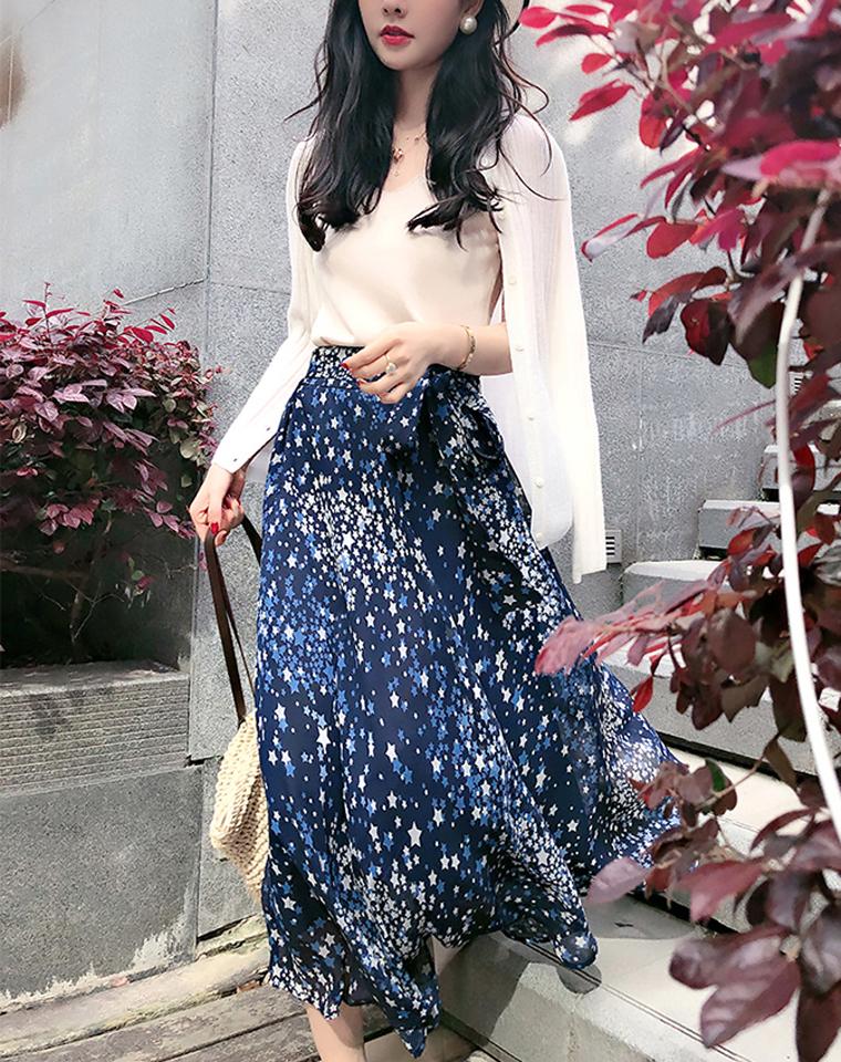 蓝调繁星点点 飘逸大撒摆 仅148元   岛国客供雪纺纱中长款半裙