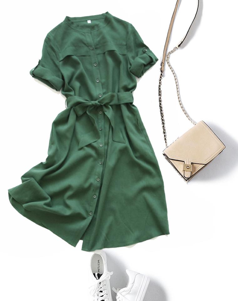 养身心养气质的亚麻  仅158元 文艺青草绿   腰部系带 宽松衬衫连衣裙