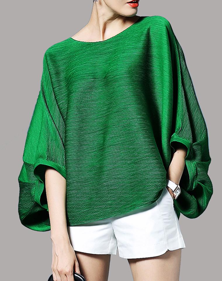 品质618 三宅褶皱!贵气十足  仅155元  三宅一生  褶皱系列  超洋气蝙蝠袖 宽松罩衫  防晒衫