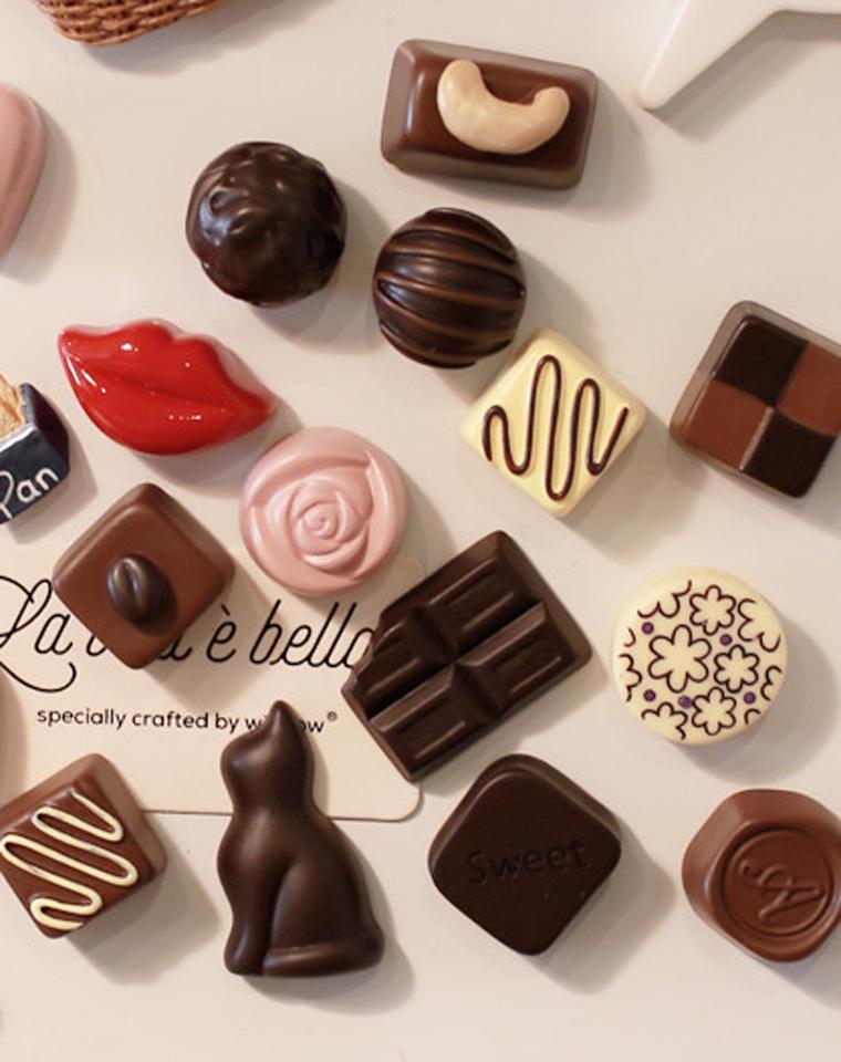 心生美好  仅2.9元 超级卡哇伊 仿真巧克力爱心猫咪立体冰箱贴磁性装饰贴