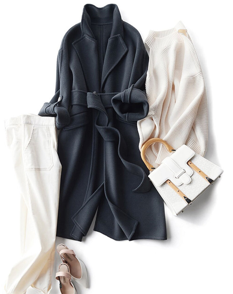 反季清仓 超值捡漏!!仅368元!!!针织羊毛羊绒双面尼面料  羊毛羊绒双面呢浴袍款大衣
