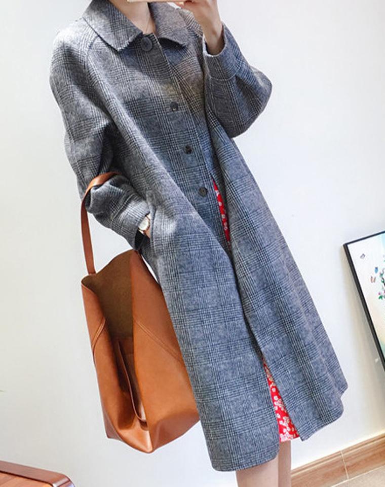 反季清仓  超值捡漏!!!仅285元   亏本清! 巨显瘦 大气 格纹 中长款 双面羊毛大衣
