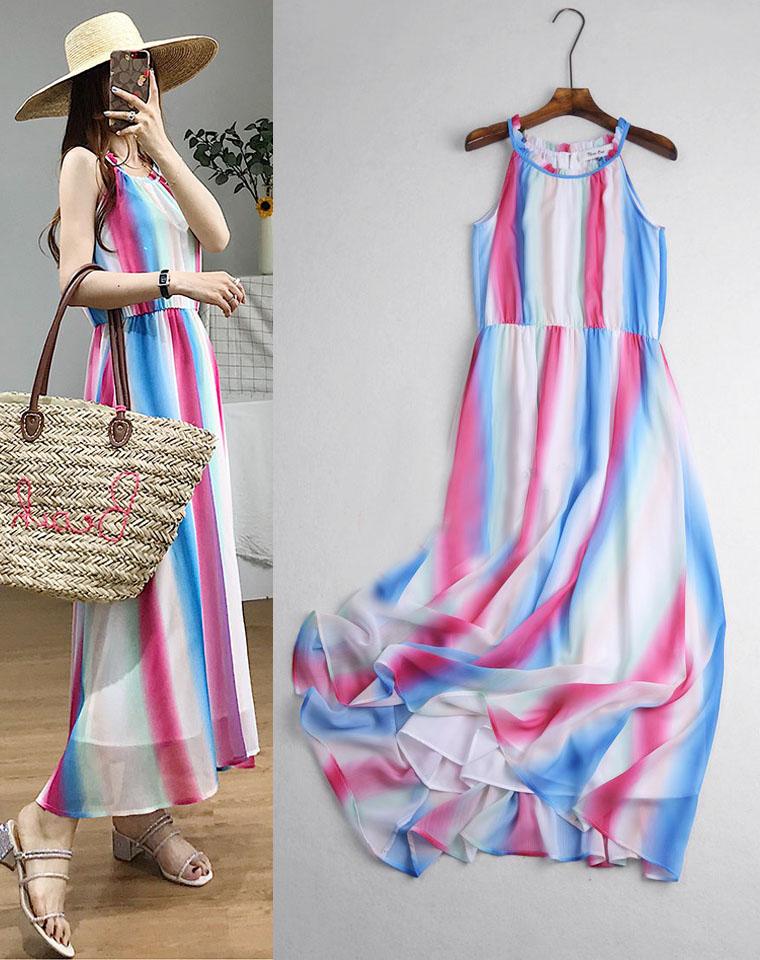 夏季度沙滩裙  仅48元  德国CA纯正原单 专柜售199  夏季新款 彩虹渐变晕染长款 沙滩裙