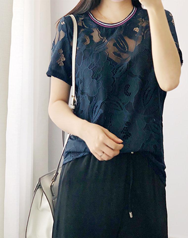 看的见的高品质 仅49元  法国CAMAIEU冠美纯正原单  上身美翻 新款罗纹松紧圆领短袖镂空蕾丝衫