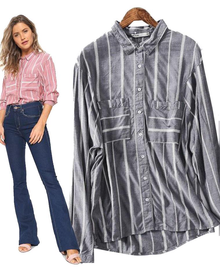 不俗气的条纹~~  仅65元  澳洲Hering纯正原单    双口袋条纹 长袖衬衫