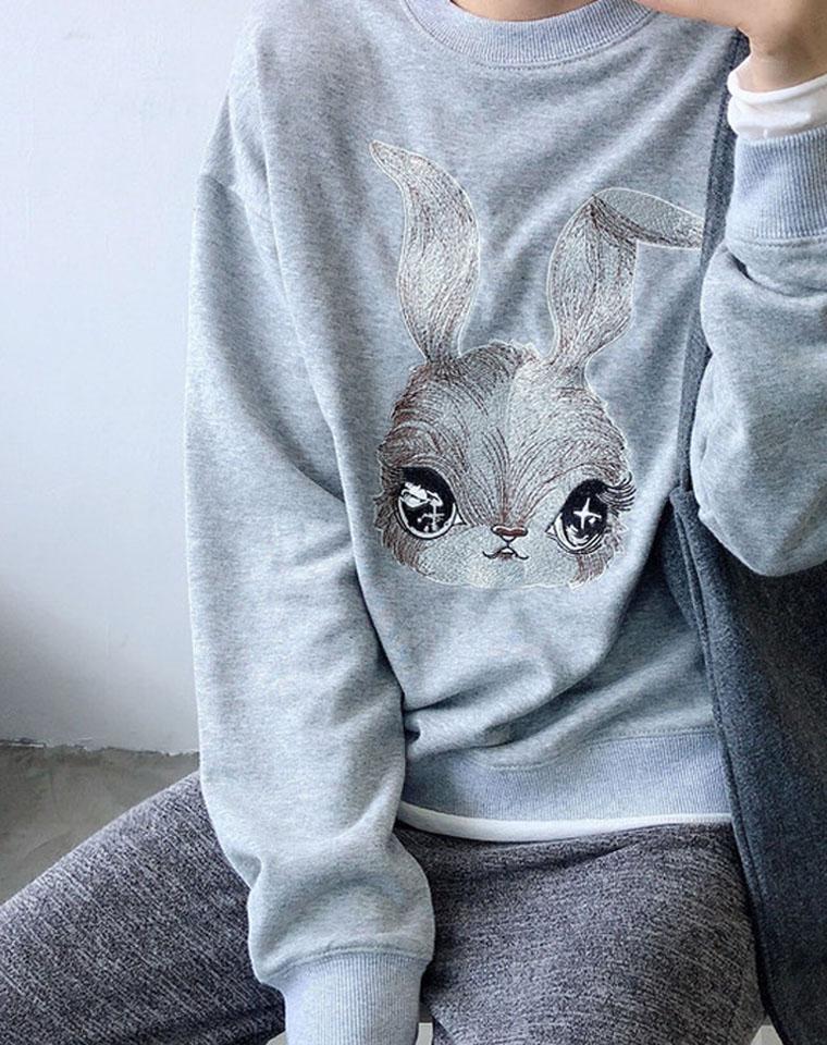萌眼儿兔兔~~上身超减龄  仅85元  HAWTHORN纯正原单  万针精致刺绣  宽松毛圈长袖卫衣