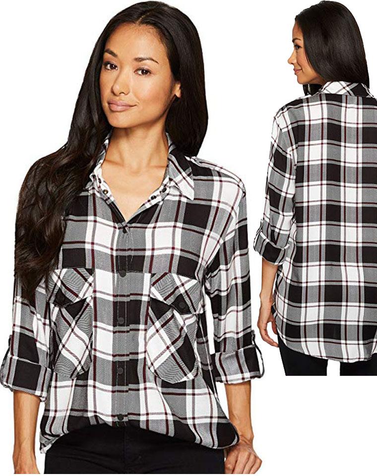 万能的格子  仅75元  超好品质  美国Sanctuary纯正原单   可调袖人造丝衬衫 有大码
