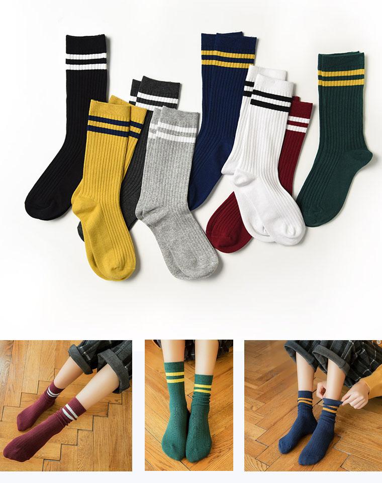 好袜子  和孩子配亲子  仅4.8元一双 精梳棉  卷边中筒袜  条纹弹力堆堆袜 卷筒袜