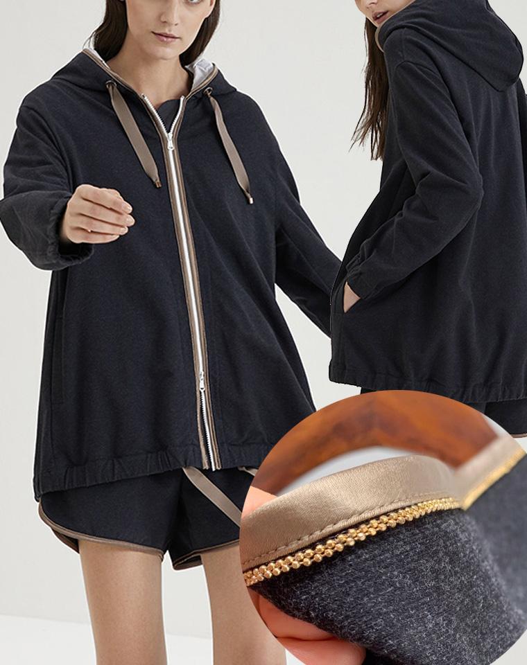 高端硬货  仅248元  欧单 精致钉珠 客供面料 双拉链中长款加厚卫衣 宽松版连帽外套