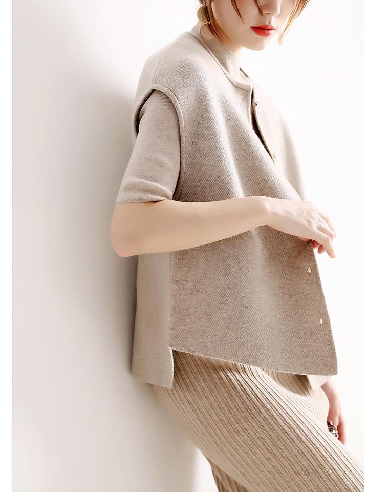 无限搭配可能 仅185元 设计师风格一分袖 四空平针羊毛马甲开衫