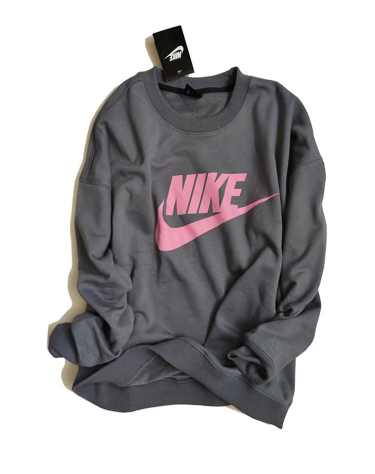 超级飒!!仅98元!! Nike纯正尾单 高级灰蓝 洋气配色廓形毛圈卫衣 代购价格400+
