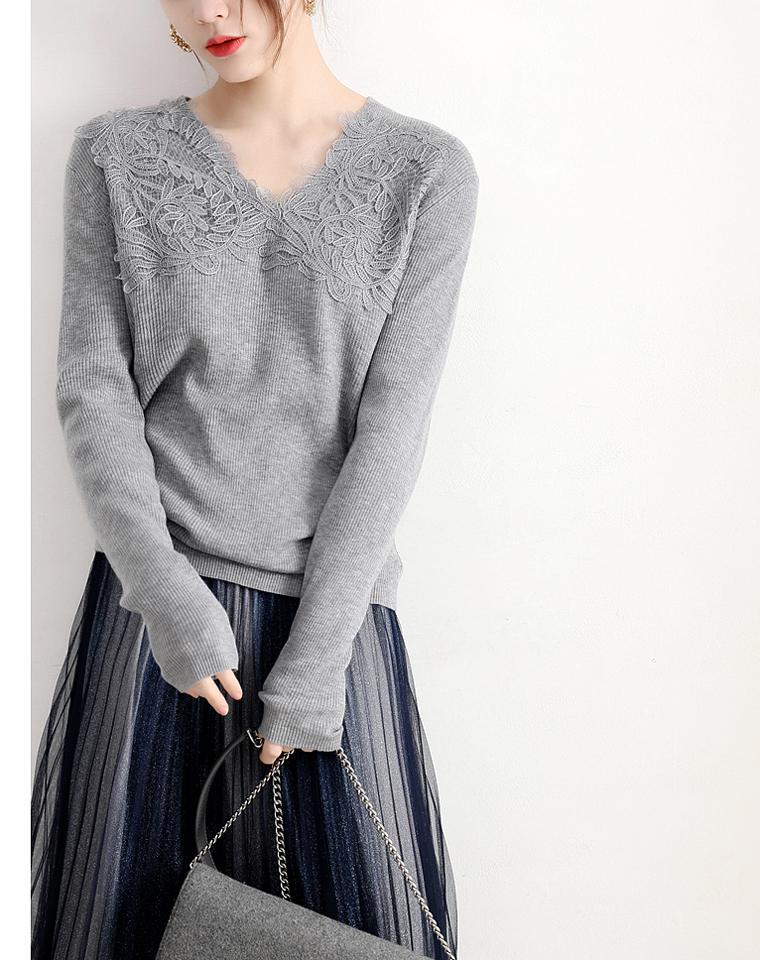 就想多看你一眼 仅158元 可温柔的蕾丝点缀  V领显瘦羊毛针织套衫
