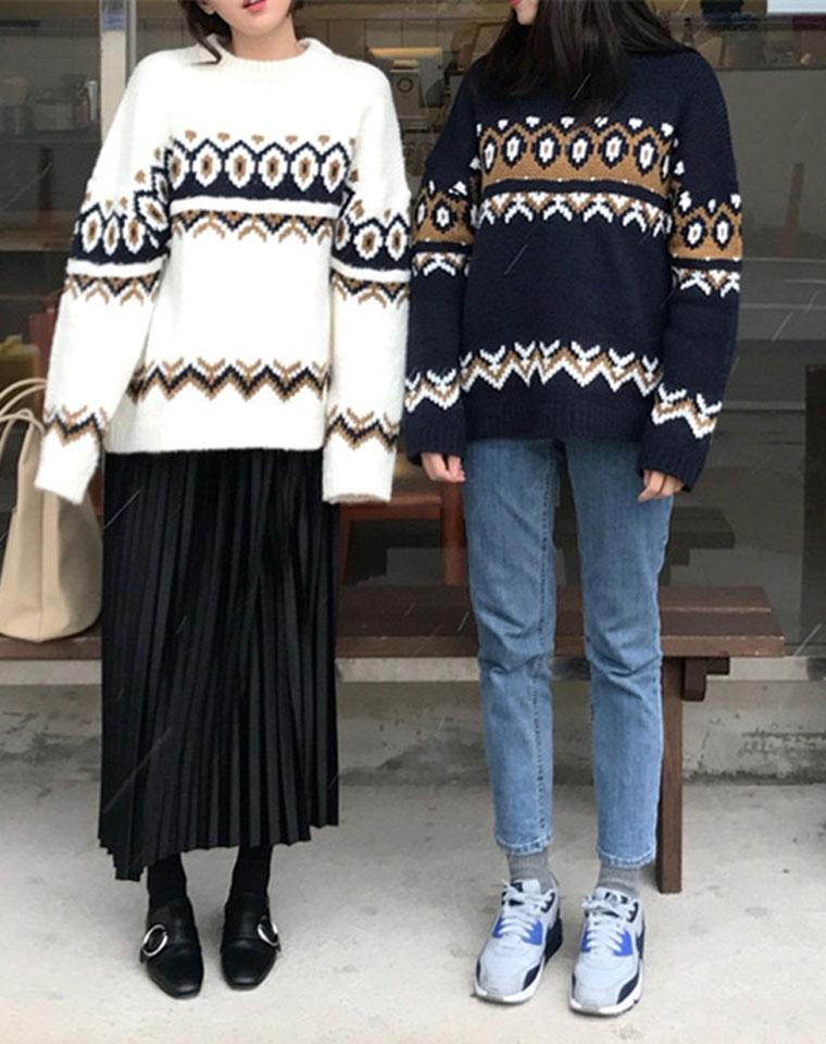 超高性价比  仅69元   北欧男友风  宽松慵懒范儿  圆领套头中长款 大毛衣