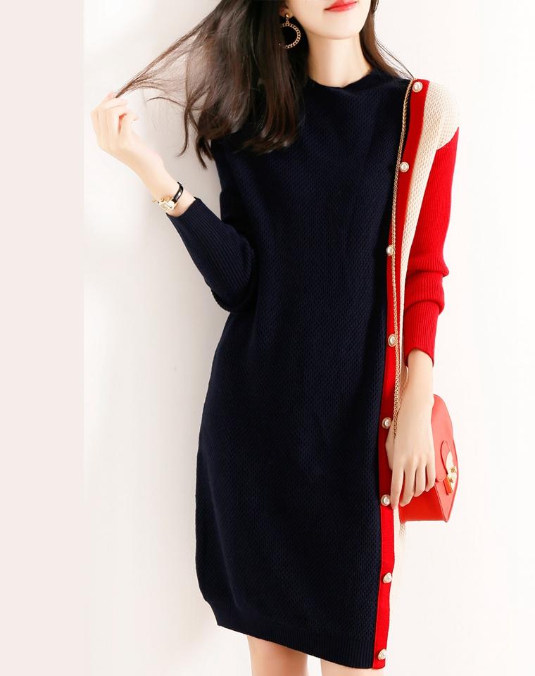真心显瘦呢!!仅168元   侧排扣拼色超显瘦  秋冬羊毛连衣裙 宽松 长袖连衣裙