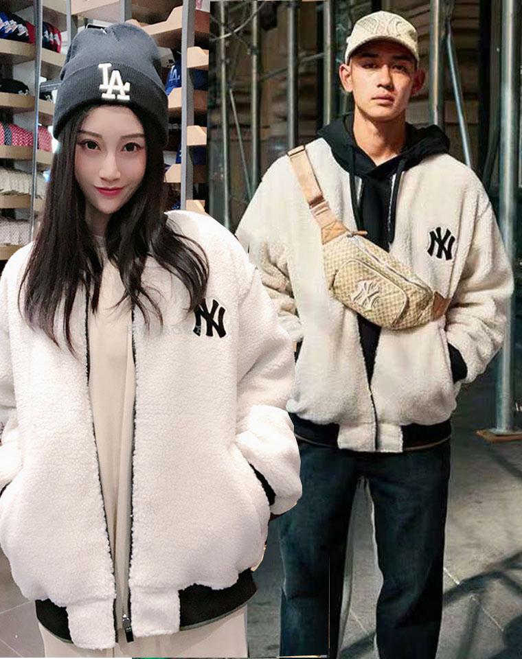 爆到要起飞 男女款 仅198元  韩国MLB纯正原单  NY洋基队 人造羊羔绒 廓形保暖上衣棉服
