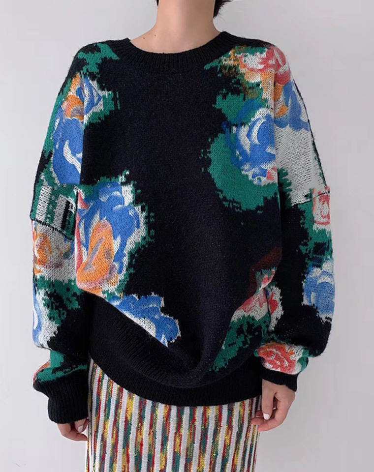 复古时髦~ 搭配高手必入!!仅185元  重工法式chic 大朵玫瑰花撞色兔绒加厚宽松大毛衣