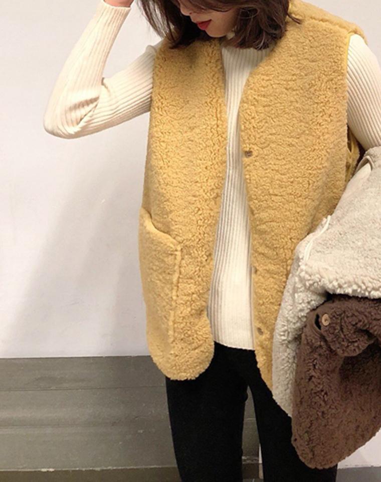 太好穿!! 减龄还保暖  仅125元  TeenieWeenie纯正原单小熊 仿羊羔毛 颗粒绒保暖马甲