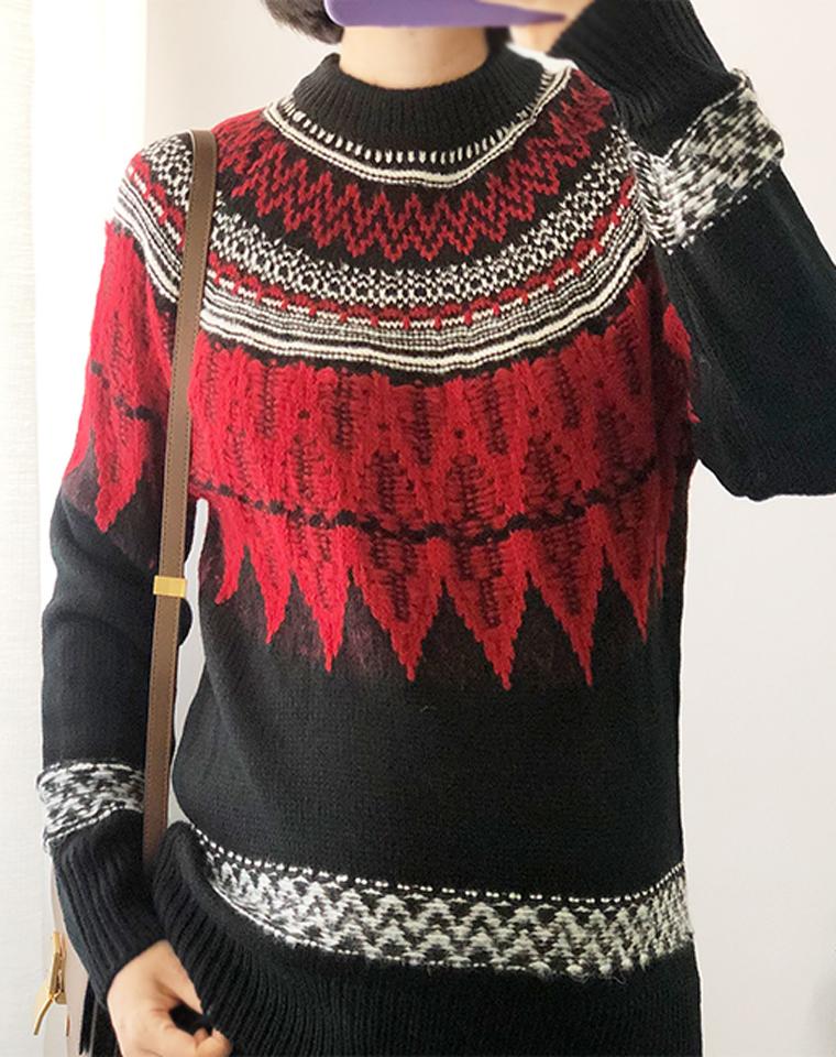 惊艳出道!仅79元  古着风 红黑撞色提花  剪标尾货厚实毛衣外套