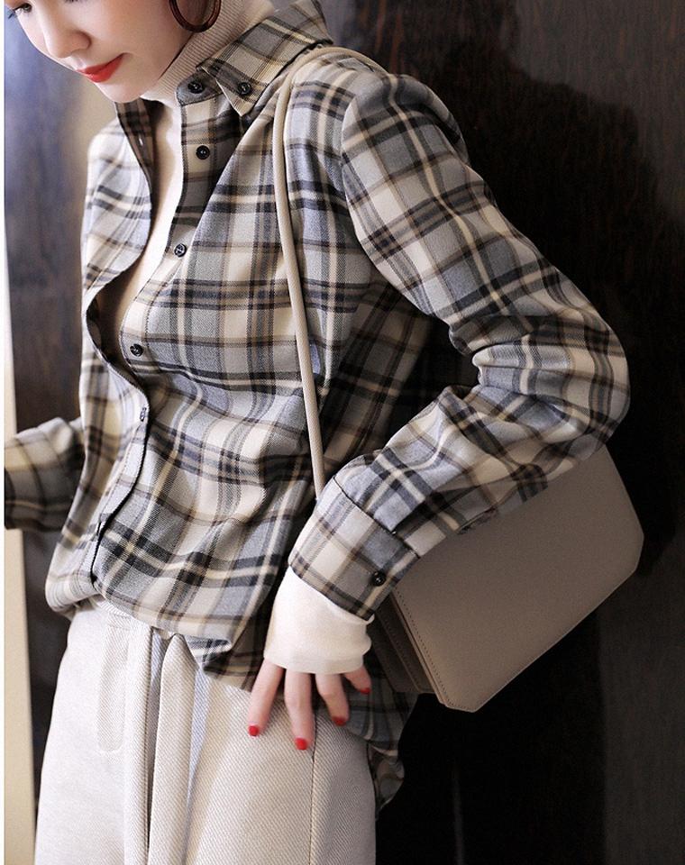 衣品好的时髦精 优雅又减龄  仅148元  轻度磨毛撞色格纹 洋气复古调色 对格工艺磨绒格纹衬衫