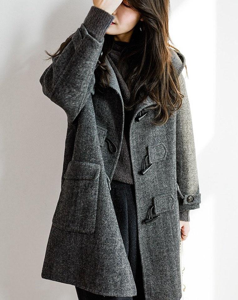 一个ID限购一件 专柜1000+仅299元!!人字纹羊毛大衣 纱线钱都做不来
