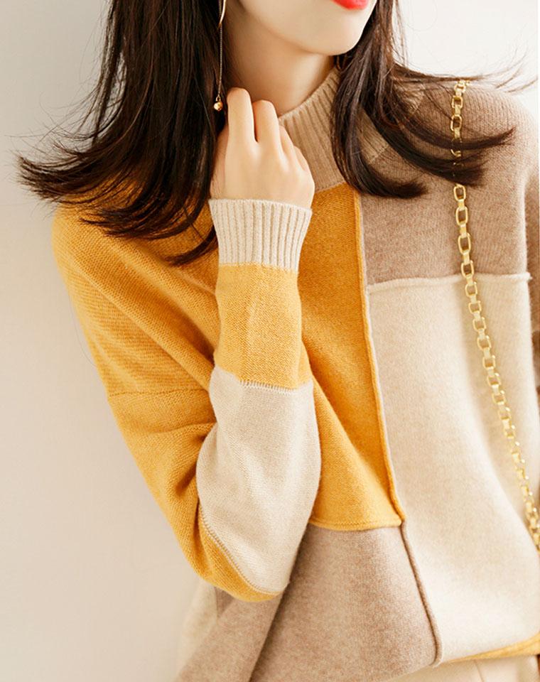 全羊毛哈!!惊艳高颜值 仅258元  美好配色   大色块 半高领 宽松套头外穿羊毛衫