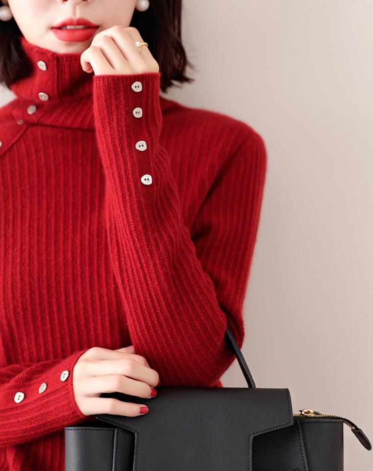 纯羊毛哒!轻轻松松的美感~兼具时髦与实穿!仅175元  羊毛肩扣自由堆堆领坑条针织毛衣 羊毛衫
