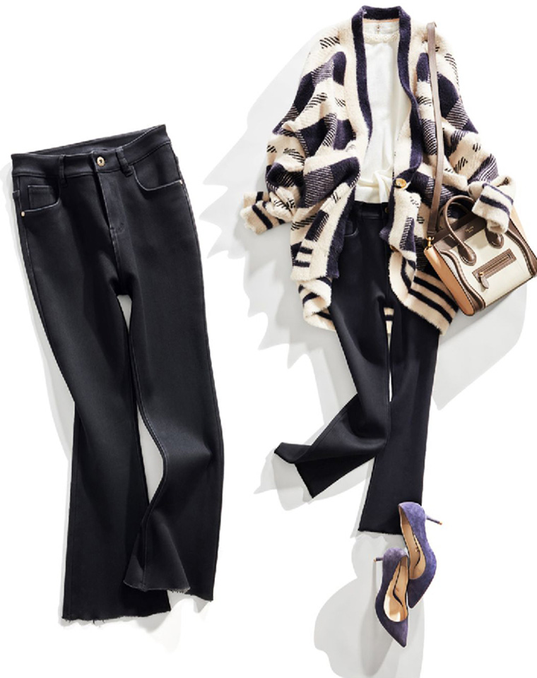 洋气的牛仔微喇也加绒  超好品质  仅145元   山羊绒复合加绒  发热弹力修身 牛仔微喇小黑裤