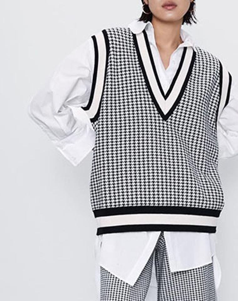 超值捡漏 内穿外搭超级百搭实穿的廓形马夹  仅85元  西班牙ZARA纯正原单   黑白撞色の千鸟格针织毛衣马甲背心